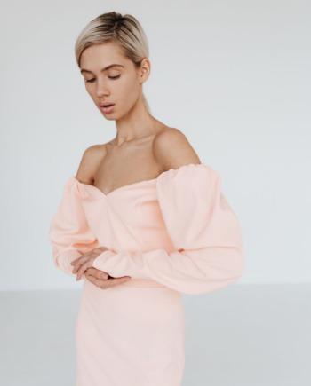 Персиковое облегающее платье мини Little (Арт 382)