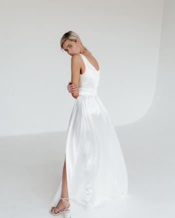 Белое шелковое Платье на запах justamoment (Арт 188)