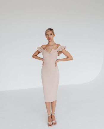 Бежевое Платье миди с рюшами Very  (Арт 328)