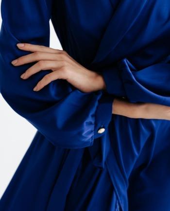 Синие шелковое платье миди на запах Galeries  (Арт 330)