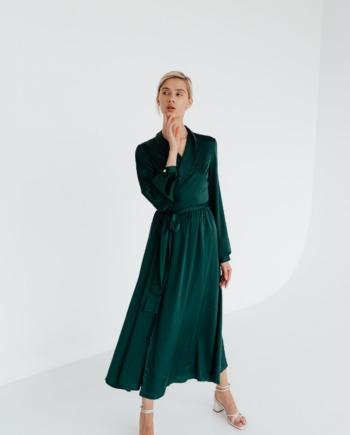 Зеленое шелковое платье миди на запах Galeries  (Арт 330)