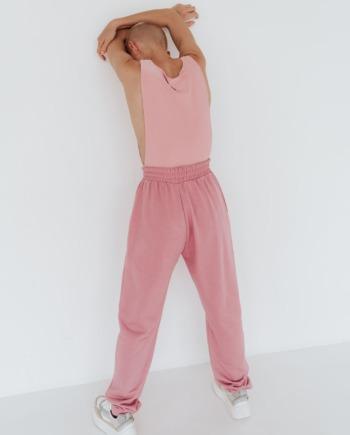 Розовые широкие штаны с завышенной талией Amiens (Арт 469)