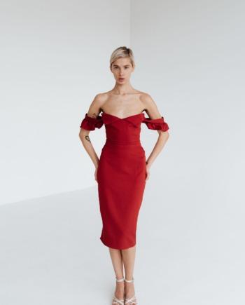Красное Платье миди с рюшами Very  (Арт 328)