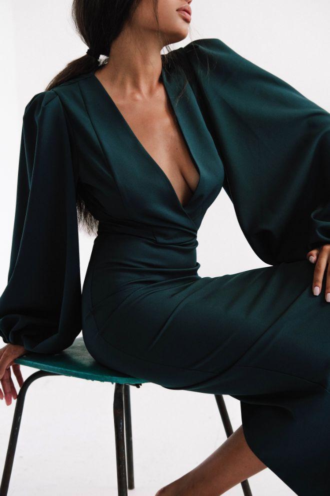 Зеленое Платье миди с объемными рукавами Moment (Арт 381)
