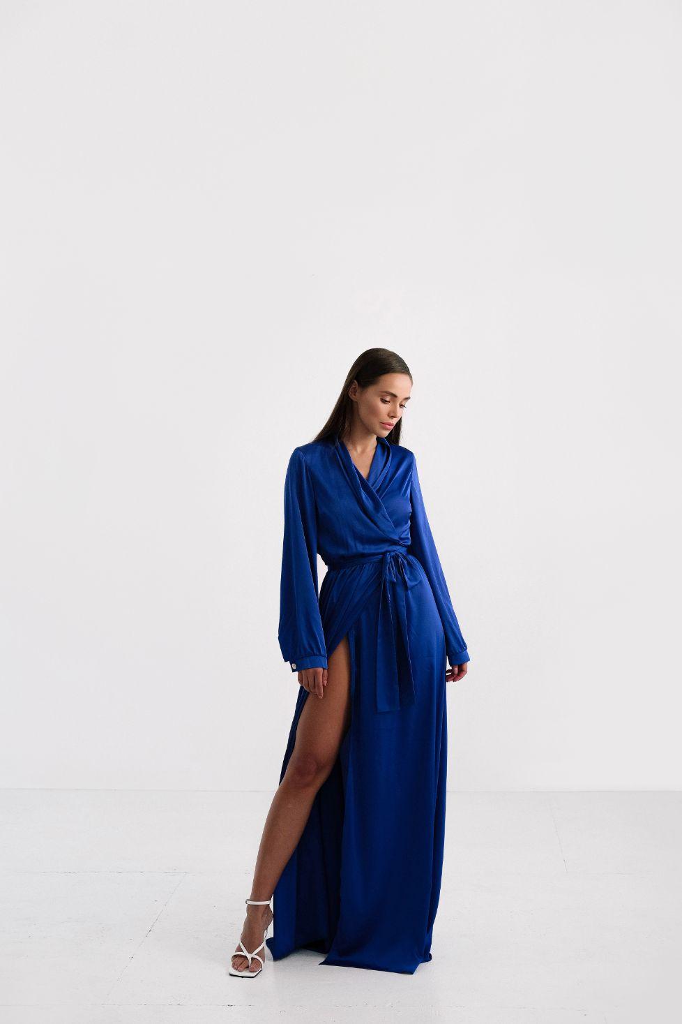 Синие вечернее платье на запах макси des fruits (Арт 337)