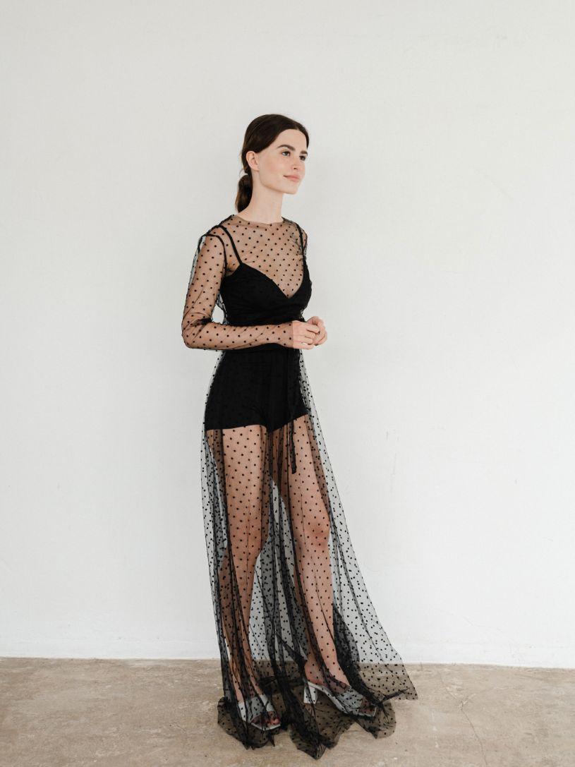 Черное Платье боди + сетка в пол jumpsuit  (Арт 386)