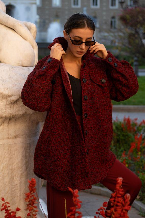 Пальто рубашка бордового цвета (Арт 510)